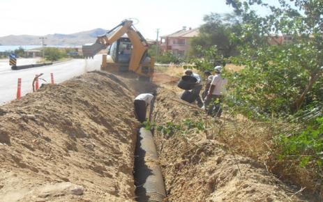 Pertek'te kanalizasyon çalışması