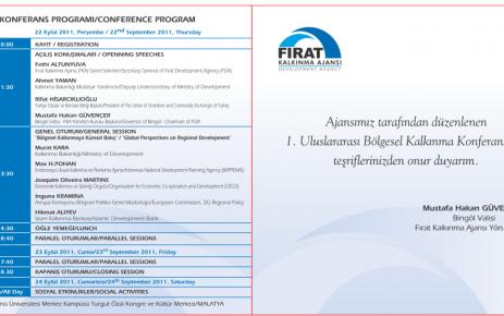 Malatya'da 1. Uluslararası Bölgesel Kalkınma Konferansına Davet