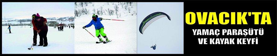 Ovacık'ta yamaç paraşütü ve kayak keyfi