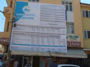 Çemişgezek Belediyesi borçlarını afişle açıkladı