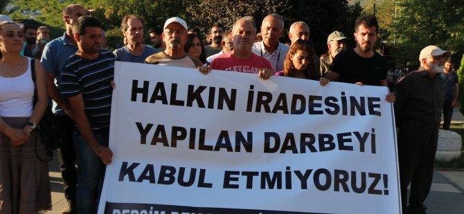 Dersim'de kayyum ve gözaltı protestosu