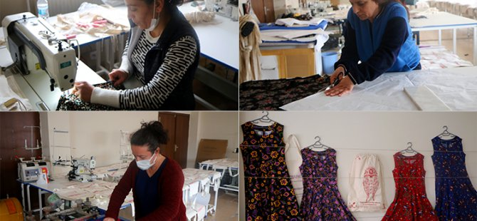 Ovacık Kadın Kooperatifi tekstil atölyesinde elbise üretimi başladı