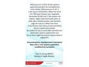 Malatya'da 3. doz aşı çağrısı